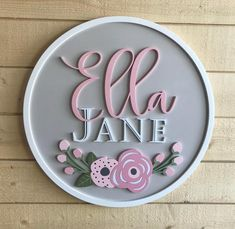 20 Round Name Sign /Solid Background/Framed Wood Name Sign, Wood Names, Wood Signs, Baby Name List, Baby Name Signs, Cute Baby Names, Baby Girl Names, Laser Cutter Projects, Girl Nursery