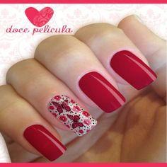 Películas e Adesivos para Unhas Modelo Borboleta Vermelha com Flores