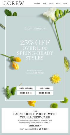J Crew Spring Sale - Sales Email - Ideas of Sales Email - J Crew Spring Sale Web Design, Layout Design, Web Layout, Sale Banner, Web Banner, Banners, Email Newsletter Design, Newsletter Ideas, Email Newsletters
