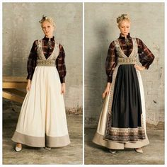 Farger European Costumes, Norway Viking, Vintage Outfits, Vintage Fashion, Fantasy Gowns, Scandinavian Fashion, Fantasy Costumes, Bridal Crown, Traditional Outfits