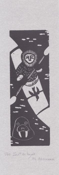 Gravures & Estampes | Philippe Achermann | Inuit en kayak | Tirage d'art en série limitée sur L'oeil ouvert Street Art, Philippe, Art Graphique, Kayaking, Darth Vader, Artwork, Cards, Fictional Characters, Contemporary Photography