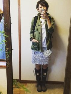 6月9日 GAPミリタリージャケット&ZARAドットスカート×日本野鳥の会ブーツで雨の日コーデ