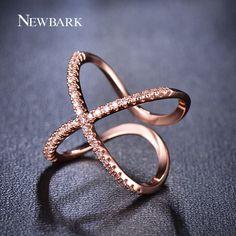 Trendy X Design Top Grade Tiny Cubic Zirconia Paved Women Rings Rose
