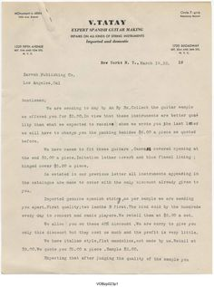 Reply from guitar maker, V. Tatay regarding inquiries made by Zarvah Publishing Co. circa March, 1932 for stock and pricing for guitar cases, strings and Italian style mandolins. Vahdah Olcott-Bickford Collection.