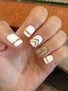 Elegant and Amazing White and Gold Nail Art Designs Gold and White Gel Manicure.Gold and White Gel Manicure. Gold Gel Nails, Gold Nail Art, Sparkle Nails, Shellac Nails, Acrylic Nails, White Manicure, White Gel Nails, Nail Polish Designs, Nail Art Designs
