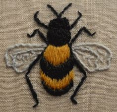 This lovely little bumble bee is worked in Appletons crewel wools on linen and…