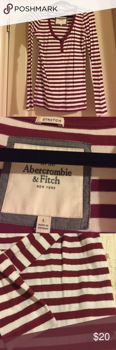 Abercrombie & Fitch striped top L Maroon striped L Abercrombie & Fitch long sleeve top great shape Abercrombie & Fitch Tops Tees - Long Sleeve