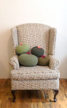 Knit Cactus PillowLight Green by CactiCity on Etsy
