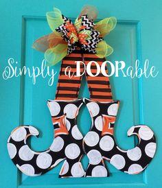 Happy Halloween!  Witch Legs Wood Door Hanger by Simply aDOORable!  Halloween Door Hanger, Fall Door Hanger, Halloween Wreath, Fall Decor by SimplyaDOORableNC on Etsy