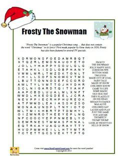 Frosty The Snowman Word Search - Christmas printable puzzle