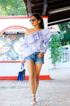 Cute One-shoulder Ruffle Striped Top with denim shorts One Shoulder Ruffle Top, One Shoulder Tops, Dress Outfits, Cute Outfits, Fashion Outfits, Casual Summer Outfits, Spring Outfits, Denim Top, Denim Shorts