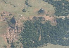 Aerial view, Gyp Hills between Coldwater and Medicine Lodge.