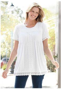 Pretty Plus-Sized Top - Women s Tunic Length Top Soft Jersey Fabric Lace  Trim ceea1e794