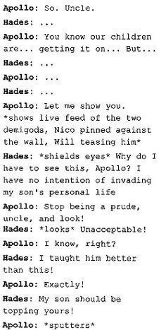 Hades and Apollo reacting to Solangelo 😂 Percy Jackson Head Canon, Percy Jackson Ships, Percy Jackson Fan Art, Percy Jackson Memes, Percy Jackson Books, Percy Jackson Fandom, Solangelo, Percabeth, Fandoms Unite