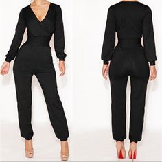 Cheap Fashion V Neck Long Sleeves Solid Black Regular Bandage Jumpsuit