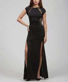 Look what I found on #zulily! Black Sheer Lace Slit Dress I love this but it clings too much for my tummy.. Get it here: http://www.zulily.com/invite/flucas588