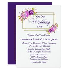 Chic Watercolor Floral Fall/Winter Invitation - marriage invitations wedding party cards invitation