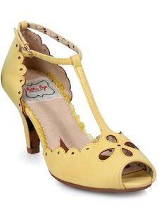 "Bettie Page Claire T-Strap Peep Toe 3""  Heel Shoes Yellow Rockabilly Retro 9 #BettiePagebyEllie #Heels"