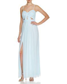 AQUA Cutout Shirred Gown