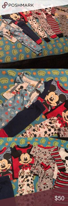 6 Boys Character Pajamas One set is a 12 mo the rest are all 18 mo. 5 Mickey Mouse and 1 Batman. Super cute and gently worn. Lots of life left. Disney Pajamas Pajama Sets
