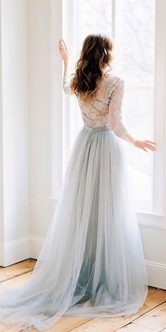 21 Adorable Blue Wedding Dresses For Romantic Celebration ❤ blue wedding dresses straight blue with long sleeves lace alexandra grecco ❤ See more: http://www.weddingforward.com/blue-wedding-dresses/ #wedding #bride