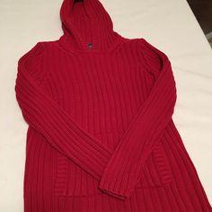 RALPH LAUREN  Size S Red Sweater Hoodie Ribbed With Hand Warmer #RalphLauren #Hooded