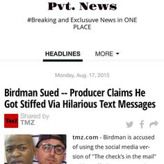 #BirdMan being SUED? http://ift.tt/1CeNjph #PvtNews