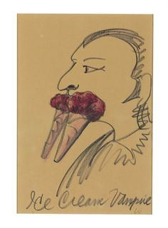 Claes Oldenburg / Ice Cream Vampire /  The Dennis Hopper Collection / oil pastel and charcoal on paper / Christie's