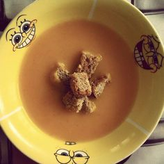 Pumpkin autumn soup with croutons and cream.Easy and fast