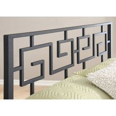 In Style Furnishings Greek Key Open-Frame Headboard Size: Full Steel Railing Design, Modern Stair Railing, Staircase Railing Design, Iron Stair Railing, Home Stairs Design, House Design, Front Porch Railings, Metal Stairs, Metal Gates