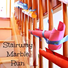 A unique idea for a marble run - using a staircase! A great way to let little ones get creative, and make a super long marble run that they can reach the whole way! www.HowWeeLearn.com