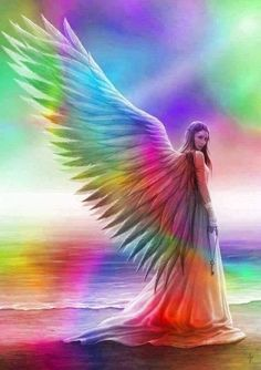 Angel with rainbow wings bright rainbow colors angel gif rainbow angel gif Fairy Pictures, Angel Pictures, Angels Among Us, Angels And Demons, I Believe In Angels, Montage Photo, Guardian Angels, Angel Art, Celestial
