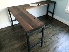 The Dresden L-Shaped Desk Reclaimed Wood & Steel by arcandtimber