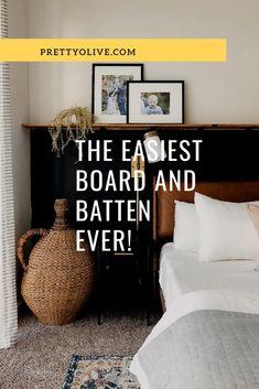 Easy board and batten, black wall in bedroom, bedroom accent wall, picture shelf in bedroom Accent Wall Bedroom, Master Bedroom, Bedroom Decor, Black Accent Walls, Black Walls, Home Decor Furniture, Diy Home Decor, Foyer, Entryway