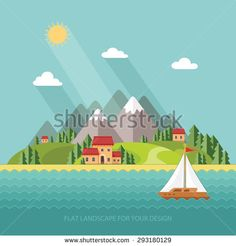 summer landscape. Little village street with small houses and trees on the lake…
