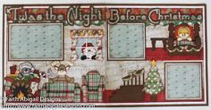 """Faith Abigail Designs - Twas the Night Before Christmas 12""""x12"""" Double Page Scrapbook Layout with Video Tutorial"""