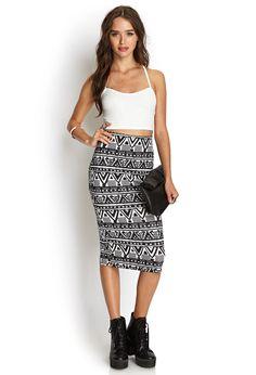 Tribal Print Scuba Knit Skirt | FOREVER21 #SummerForever