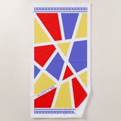 #Color Block Abstract Primary Colors ID410 Beach Towel - #trendy #gifts #template