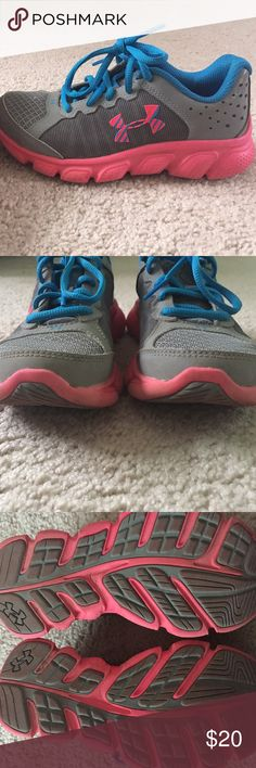 Under armor pink and blue running sneakers Only works a couple of times! Toes are not scuffed at all. Great for running, sports, or just playing Under Armour Shoes Sneakers