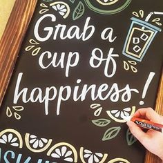 Grab a cup of happiness! Custom chalk sign for Los Olivos Lemons with Chalk Ink pens! Chalkboard Ideas, Chalkboard Signs, Lemonade Sign, Chalk Ink, Coffee Culture, Chalk Board, Paint Ideas, Pens, Artsy