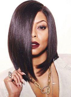 Taraji Medium Straight Lob Hairstyle Lace Front Human Hair Wig 14 Inches