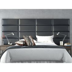 Vant Upholstered Wall Panels (Headboards) Sets of 4 - Deluxe Leather - Graystone - 30 Inch - Full-Queen.