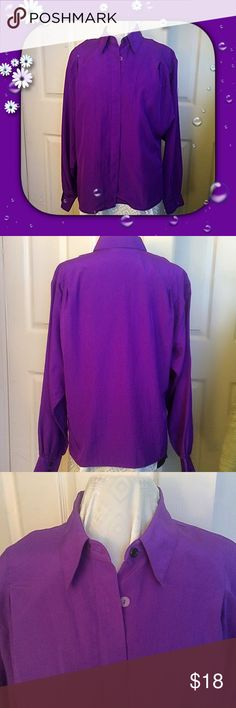 "Chaus / Vivid Purple Blouse / sz Large / Vintage Chaus / Vivid Purple Blouse / sz Large / Vintage / Has Velcro for shoulder pads / 45"" Chest - 26"" Length - 100% poly - Hidden buttons - Please feel free to make an offer - Enjoy discounts on bundles & save $$$ on shipping!  💜💜💜 Chaus Tops Blouses"