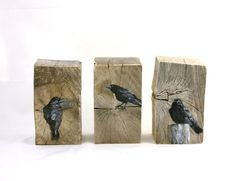 Three crows   original oil painting on by ingridArtStudio on Etsy