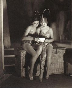 James Abbe - Backstage, French and English girls at the Moulin Rouge, 1926.