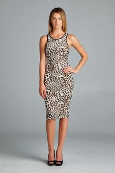 Sexy animal print bodycon dress. Fitted but very comfortable. Perfect with heels for a night out! Made in USA.  www.cherishusa.com www.fashiongo.net/cherish
