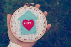 Felt House  Embroidery Hoop Art  Home is Where the by CatshyCrafts, $36.00