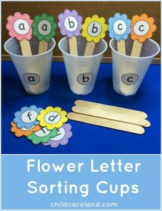 This week's free printable is Flower Letter Sorting Cups which is a great activity for letter recognition and review. Available until Sunday May 18th ... after that they will be available in the member's section of the site.