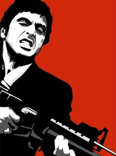 "Graphic Art Poster Scarface Tony Montana Say Hello To My Little Friend. Antonio ""Tony"" Montana is a fictional character and the main protagonist of the 1983 film Scarface. He is portrayed by Al Pacino in the movie Scarface Film, Scarface Poster, Mafia Gangster, Gangster Movies, Films Cinema, Kunst Poster, Hello To Myself, Movie Poster Art, Silhouette Art"