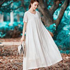 b26d815f67 Basic Aesthetic for Sustainable Easywear by camelliatune. White Linen  DressesWhite ...